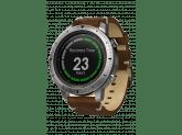 Умные часы серебристые с кожаным ремешком Garmin Fenix Chronos