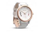 Умные часы розовое золото с белым кожаным ремешком Garmin Vivomove Classic