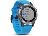 Умные часы серебристые с синим ремешком Garmin Quatix 5