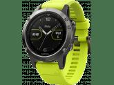 Умные часы серые с желтым ремешком Garmin Fenix 5