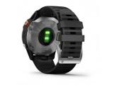 Умные часы серебристые с черным ремешком Garmin Fenix 6 Solar