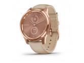 Умные часы розовое золото PVD 18K со светло-песочным ремешком из итальянской кожи Garmin Vivomove Luxe