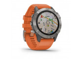 Умные часы титановые с оранжевым ремешком Garmin Fenix 6 Sapphire