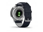 Умные часы серебристые с итальянским кожаным темно-синим ремешком Garmin Vivomove Luxe