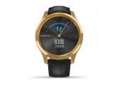 Умные часы золотые с черным кожаным ремешком Garmin Vivomove Luxe