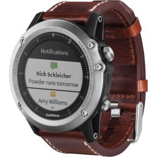 Умные часы серебристые с кожаным ремешком Garmin Fenix 3 Sapphire
