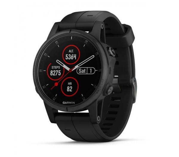 Умные часы черные с черным ремешком Garmin Fenix 5s Plus Sapphire