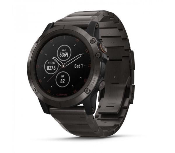 Умные часы титановые серые с титановым DLC ремешком Garmin Fenix 5X Plus Sapphire