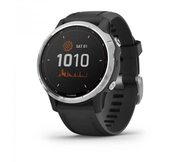 Умные часы Garmin серебристые с черным ремешком Fenix 6s Solar