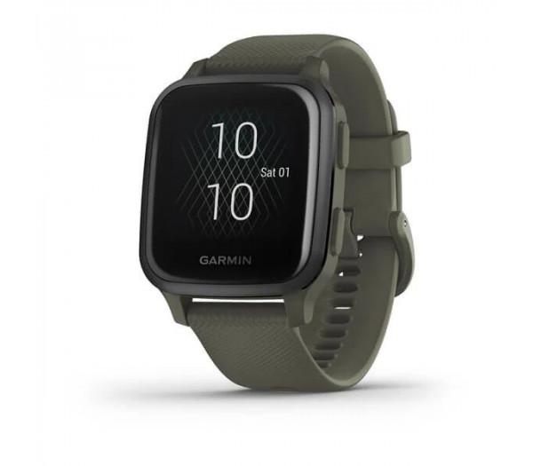 Умные часы темно-зеленые с серым алюминиевым безелем Garmin Venu Sq Music Edition