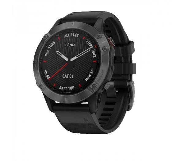 Умные часы серые с черным ремешком Garmin Fenix 6 Sapphire