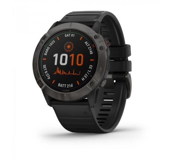 Умные часы титановые-серые DLC с черным ремешком Garmin Fenix 6X Pro Solar