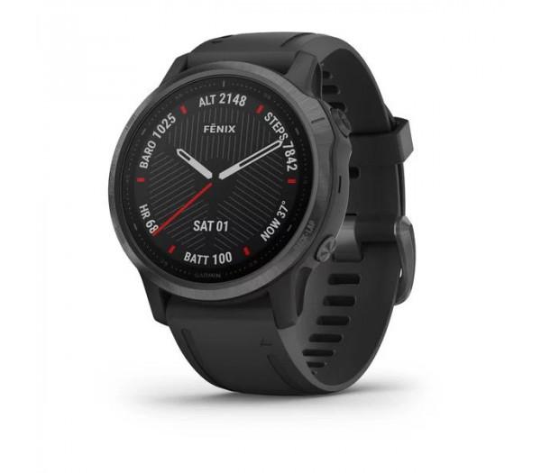 Умные часы серые DLC с черным ремешком Garmin Fenix 6S Pro