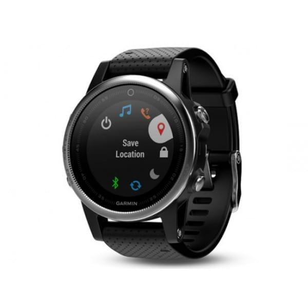Умные часы серебристые с черным ремешком Garmin Fenix 5s