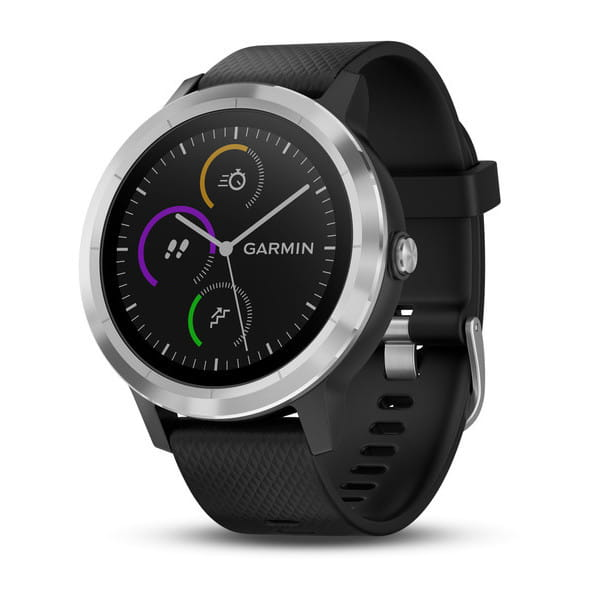 Умные часы серебристые с черным ремешком Garmin Vivoactive 3