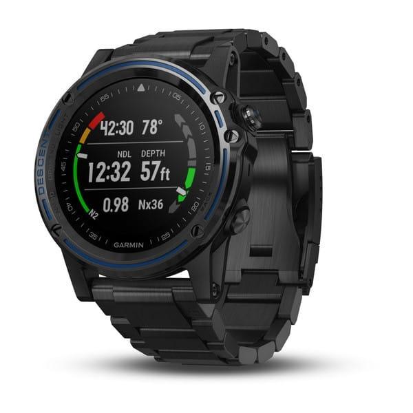Умные часы серые с титановым DLC ремешком Garmin Descent Mk1 Sapphire