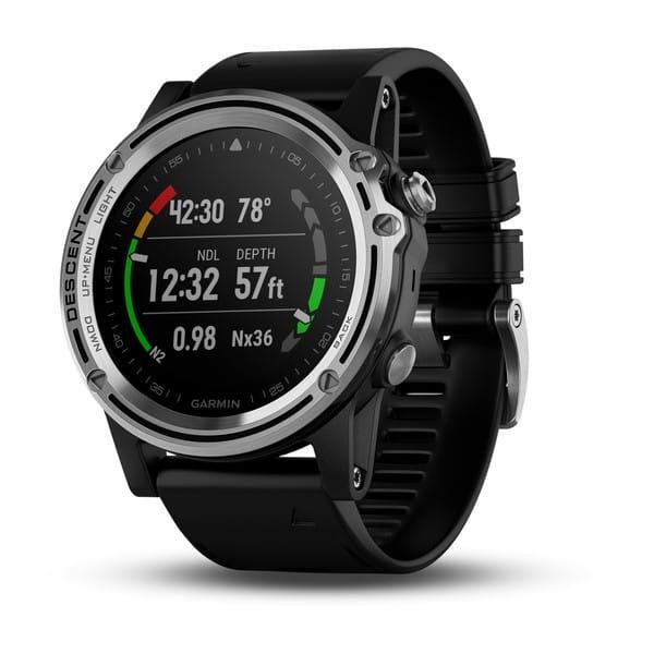 Умные часы серебристые с черным ремешком Garmin Descent Mk1 Sapphire