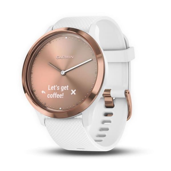 Умные часы розовое золото с белым ремешком Garmin Vivomove HR