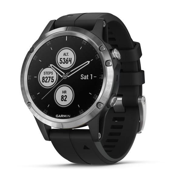 Умные часы серебристые с черным ремешком Garmin Fenix 5 Plus