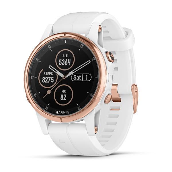 Умные часы розовое золото с белым ремешком Garmin Fenix 5s Plus Sapphire