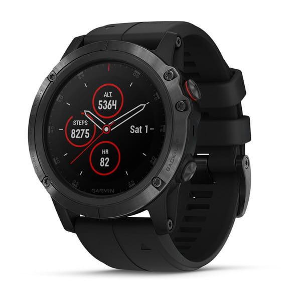 Умные часы черные с черным ремешком Garmin Fenix 5x Plus Sapphire