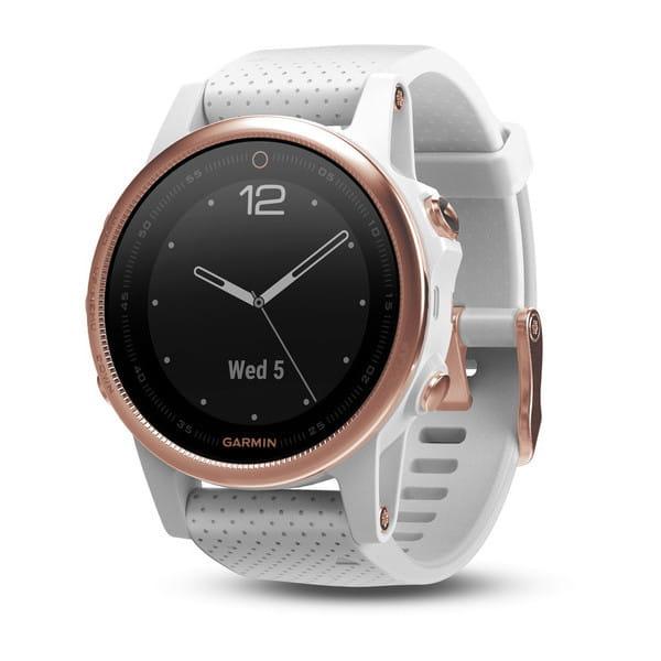 Умные часы розовое золото с белым браслетом Garmin Fenix 5s Sapphire