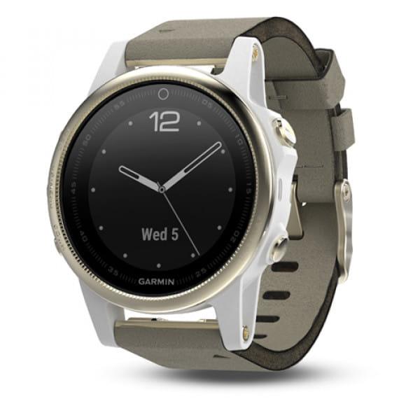 Умные часы золотистые с замшевым ремешком Garmin Fenix 5s Sapphire