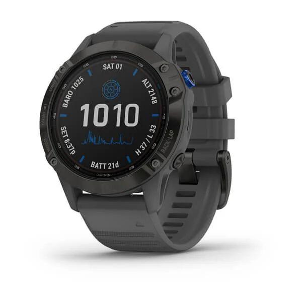 Умные часы черные с серым ремешком Garmin Fenix 6 Pro Solar