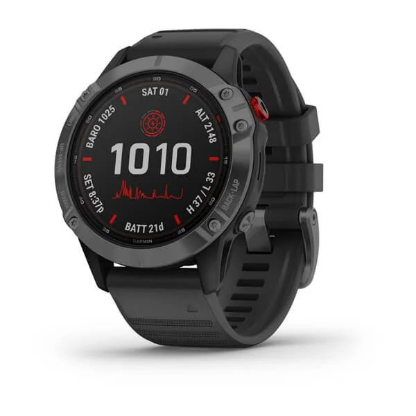 Умные часы серые с черным ремешком Garmin Fenix 6 Pro Solar
