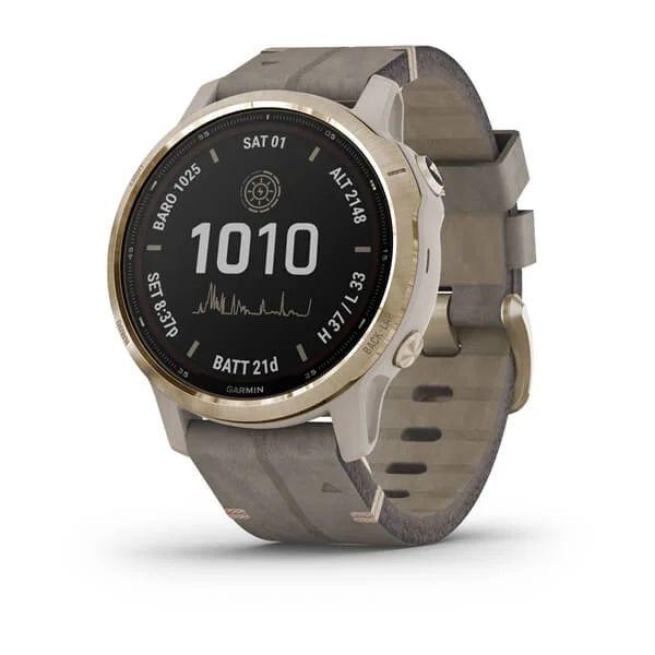 Умные часы золотистые с серым замшевым ремешком Garmin Fenix 6s Pro Solar