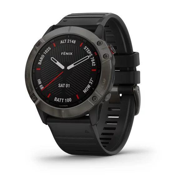 Умные часы серые DLC с черным ремешком Garmin Fenix 6X Sapphire