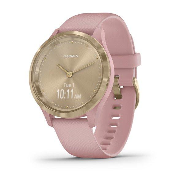 Умные часы золотистые с розовым ремешком Garmin Vivomove 3s