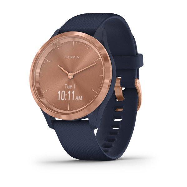 Умные часы розовое золото с темно-синим ремешком Garmin Vivomove 3s