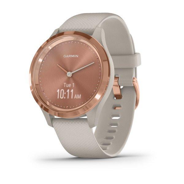 Умные часы розовое золото с песочным ремешком Garmin Vivomove 3s