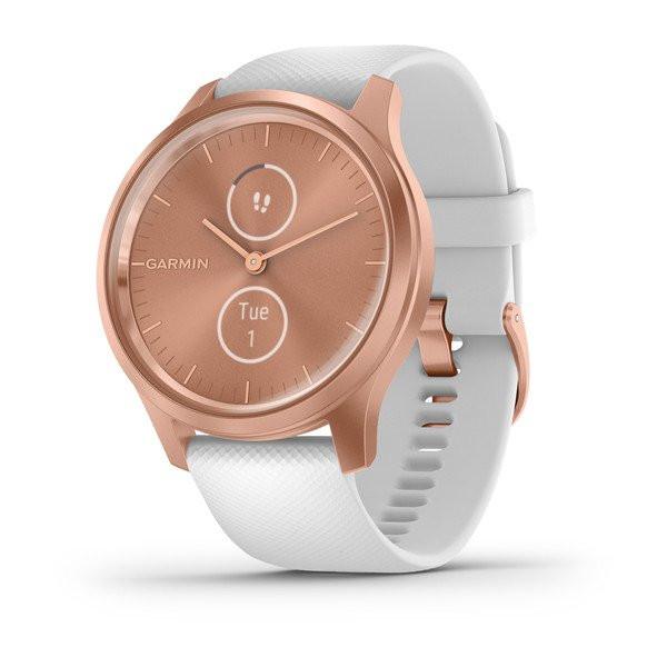 Умные часы розовое золото с белым силиконовым ремешком Garmin Vivomove Style