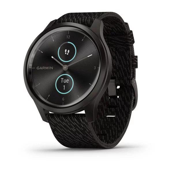Умные часы графитовые с плетеным нейлоновым черным ремешком Garmin Vivomove Style